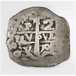 Potosi, Bolivia, cob 2 reales, 1708Y.