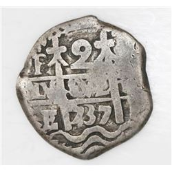 Potosi, Bolivia, cob 2 reales, 1737E with 1736 date on cross side, rare.