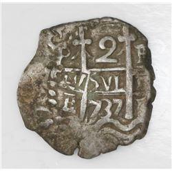 Potosi, Bolivia, cob 2 reales, 1737E.