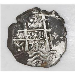Potosi, Bolivia, cob 2 reales, 1737M.