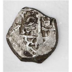 Potosi, Bolivia, cob 2 reales, 1754q/C, rare.