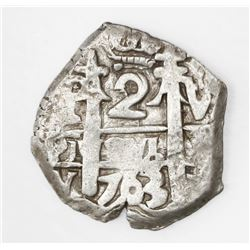 Potosi, Bolivia, cob 2 reales, 1763V-Y.
