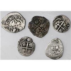 Lot of five Potosi, Bolivia, cob 1R, Philip IV through Philip V: 1658E, 1669E, 1679C, 1684VR and 172