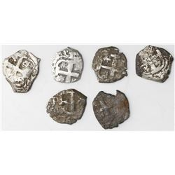 Lot of six Potosi, Bolivia, cob 1R of Charles III, assayer V-Y (where visible): 1764, 1765 (two), 17