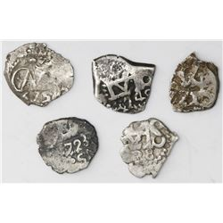 Lot of five Potosi, Bolivia, cob 1/2R of Charles II through Charles III: 1675, 1723, 1738, 1740 and