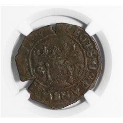 """Santo Domingo, Dominican Republic, copper 4 maravedis, Charles-Joanna, mintmark S-P, assayer """"E"""" (F)"""