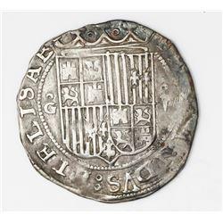Granada, Spain, 2 reales, Ferdinand-Isabel, assayer R on reverse, mintmark oG to left, denomination