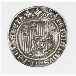 Segovia, Spain, 1 real, Ferdinand-Isabel, assayer P to right of aqueduct mintmark on reverse.