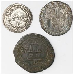 Lot of three Spanish minors of Ferdinand-Isabel: 1R Granada, 1/2R Granada and copper 4 maravedis Bur