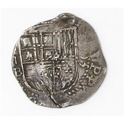 Seville, Spain, cob 2 reales, 1595 date to right, assayer B below mintmark S and denomination II to