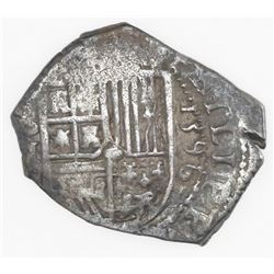 Seville, Spain, cob 2 reales, 1596 date to right, assayer B below mintmark S and denomination II to