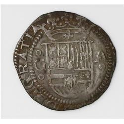 Granada, Spain, cob 1 real, Philip II, assayer A to right, mintmark G to left (oGo-Ao).