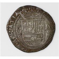 Granada, Spain, cob 1 real, Philip II, assayer A to right, mintmark G to left (oGo-Ao).