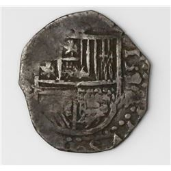 Seville, Spain, cob 1 real, 1594(?) date to right, assayer not visible.