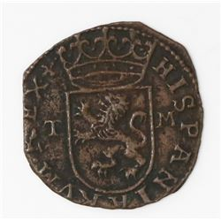 Toledo, Spain, copper cuartillo, Philip II, assayer M to right and mintmark T to left on both obvers