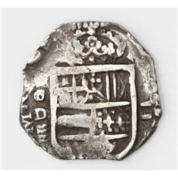 Valladolid, Spain, cob 2 reales, Philip II or III, assayer oD above mintmark (four wavy lines) to le