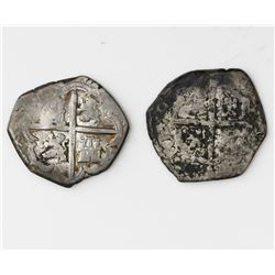Lot of two Spanish cob 1R of Philip III: Seville, assayer V; Toledo, assayer P.