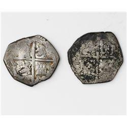 Lot of two Spanish cob 1R of Philip III: Seville, assayer V; Toledo, assayer P.