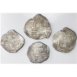 Lot of four Spanish cob 4 reales, Philip IV, various mints and assayers (where visible).
