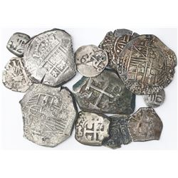 Lot of fourteen silver (thirteen) and copper (one) cobs from Spanish and Spanish colonial mints, var