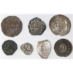 Lot of seven Spanish and Spanish colonial silver (five) and copper (two) cobs, various mints and per