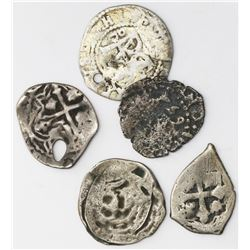 Lot of five Spanish colonial cob 1/2R, various mints and periods (1500s-1700s).
