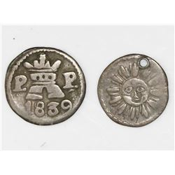 Lot of two Cordoba, Argentina, 1/4R: 1833, 1839P-P.