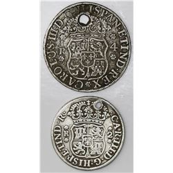 Lot of two Potosi, Bolivia, pillar minors of 1769JR: 4R, fancy 9; 2R, round 9.