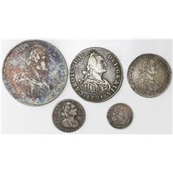 Denomination set (five coins) of Potosi, Bolivia, bust 8-4-2-1-1/2 reales, Charles IV transitional (