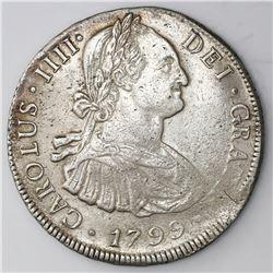 Potosi, Bolivia, bust 8 reales, Charles IV, 1799PP.