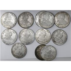 Lot of twelve Potosi, Bolivia, bust 8 reales, Charles IV: 1794PR, 1795PP, 1797PP (two), 1800PP, 1801