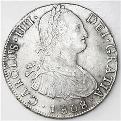 Potosi, Bolivia, bust 8 reales, Charles IV, 1808PJ (struck 1808-13).