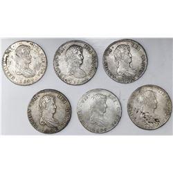 Lot of six Potosi, Bolivia, bust 8 reales, Ferdinand VII, 1809PJ (struck in 1813).