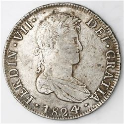 Potosi, Bolivia, bust 8 reales, Ferdinand VII, 1824PJ.
