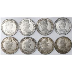 Lot of eight Potosi, Bolivia, bust 8 reales, Ferdinand VII: 1817PJ, 1818PJ, 1819PJ, 1822PJ, 1823PJ,