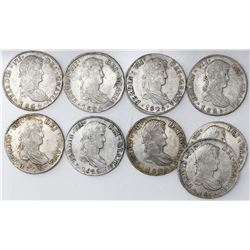 Lot of nine Potosi, Bolivia, bust 8 reales, Ferdinand VII, 1825JL.