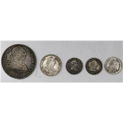 Lot of five Potosi, Bolivia, bust minors: 4R, 1795PR; 1R, 1777PR; 1/2R, 1776JR, 1788PR, 1821PJ.