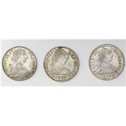 Lot of three Potosi, Bolivia, bust 2 reales, Charles III: 1775JR, 1779PR and 1780PR.