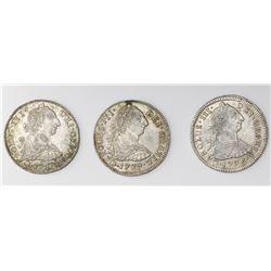 Lot of three Potosi, Bolivia, bust 2 reales, Charles III: 1775JR, 1779PR and 1780PR.