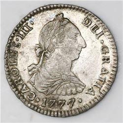 Potosi, Bolivia, bust 1 real, Charles III, 1777PR.