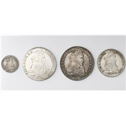 Lot of four Potosi, Bolivia, silver coins: 8 soles, 1833LM and 1836LM; 4 soles, 1830JL; 1 sol, 1828J