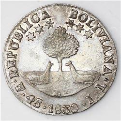 Potosi, Bolivia, 4 soles, 1830JL, monogram on island.
