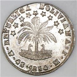 Lot of two Potosi, Bolivia, coins: 4 soles, 1854MJ, NGC AU details / cleaned; and 50 centavos, 1897E