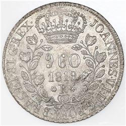 Brazil (Rio mint), 960 reis, 1819-R, Joao VI, NGC AU 58.