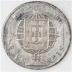 Brazil (Rio mint), 960 reis, Joao VI, 1820-R, struck over a Potosi, Bolivia, bust 8 reales, Ferdinan