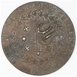 Para, Brazil, 10-reis countermark (1835) on a Cuiaba bronze 40 reis 1828-C of Pedro I.