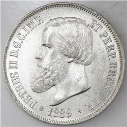 Brazil, 2000 reis, 1889, Pedro II, NGC MS 63.
