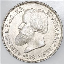 Brazil, 2000 reis, 1889, Pedro II, NGC MS 62.