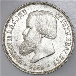 Brazil, 2000 reis, 1889, Pedro II, NGC MS 61.
