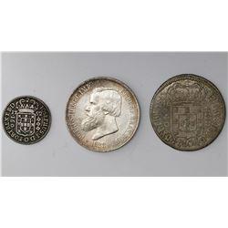 Lot of three Brazil silver coins: 2000 reis, 1888; 640 reis, 1695; 160 reis, 1752.